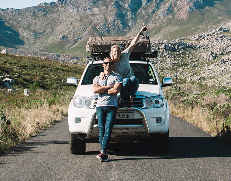 Couple in car in Western Cape South Africa