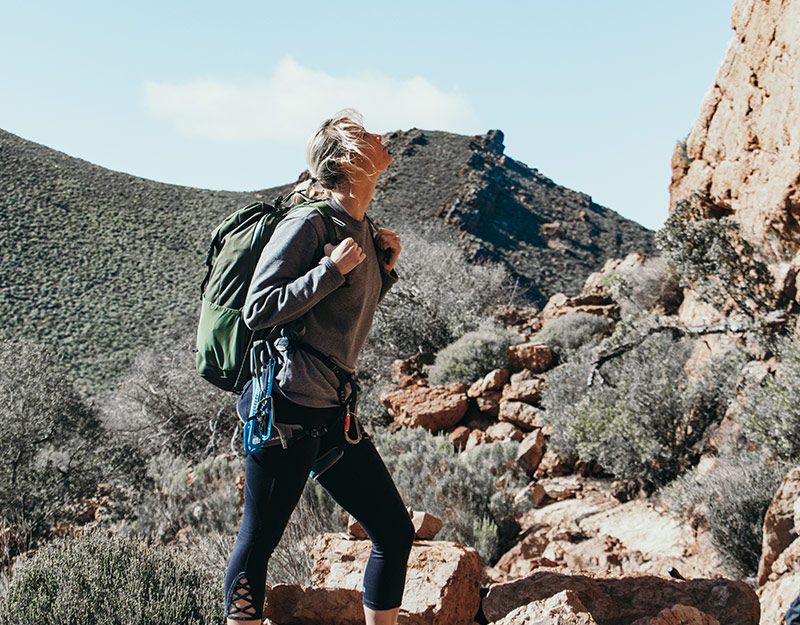 Woman hiking in Western Cape South Africa