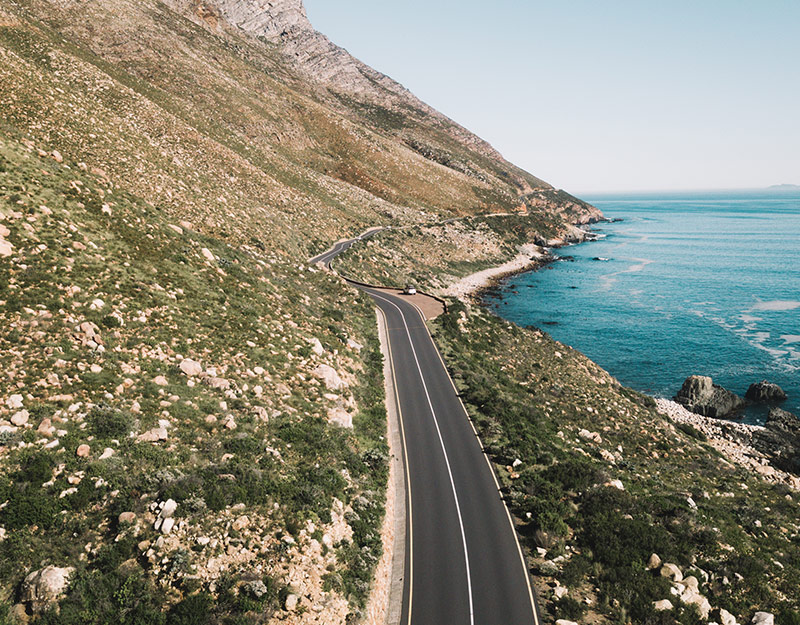 Road and landscape in Western Cape South Africa
