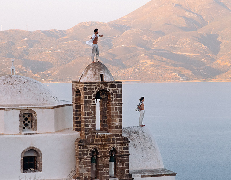 On top of cathedral in Milos Greece