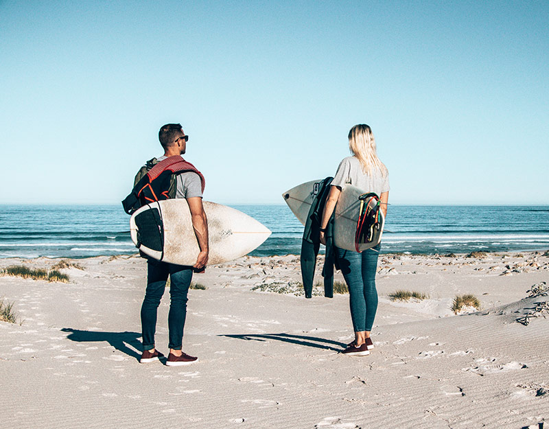 Surfing at Betty's Bay in Western Cape, South Africa