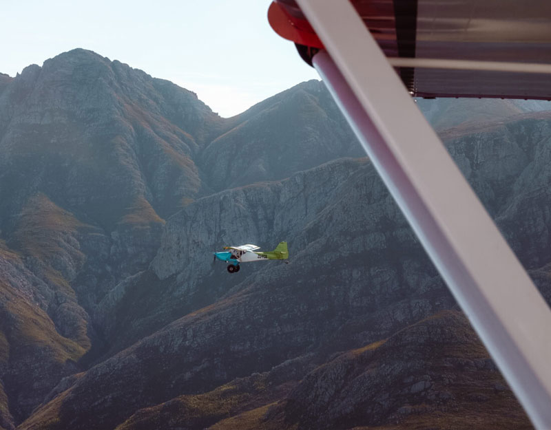Morning airplane flight in South Africa