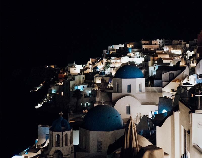 Greek roofs at night